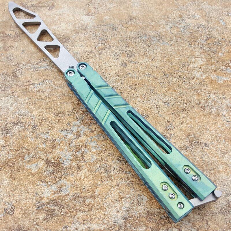 فراشة مدرب سكين يست حادة فنون الدفاع عن النفس الحرف جمع هجر أو نبذ الحبيب سكين D2 شفرة مقبض التيتانيوم قابلة للطي سكين هدية النظام جلبة A1pa