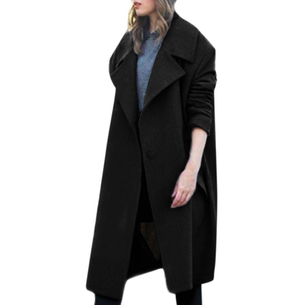 Design de moda de Alta Qualidade Das Mulheres Inverno Lapela De Lã Casaco de Jaqueta Botão Trench Solto Plus Casaco Outwear Casaco Mulheres Inverno