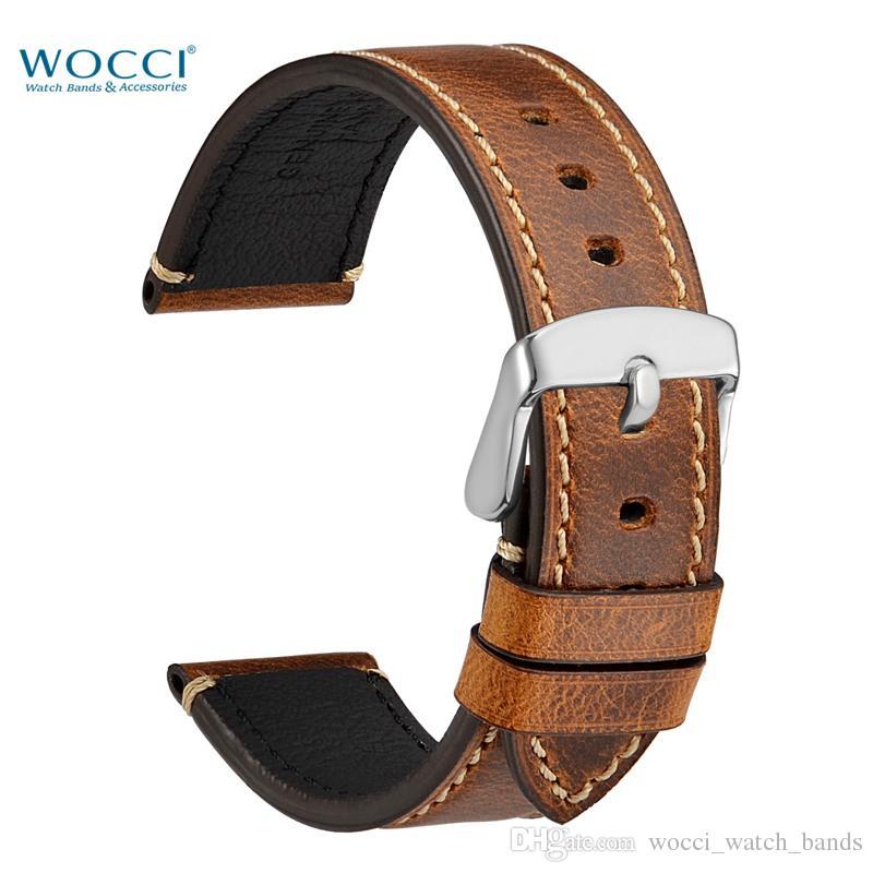 WOCCI Bande De Montre 18mm 20mm 22mm 24mm Bracelet En Cuir Vintage Style Pour Hommes Montre-Bracelet Bracelet Ceinture