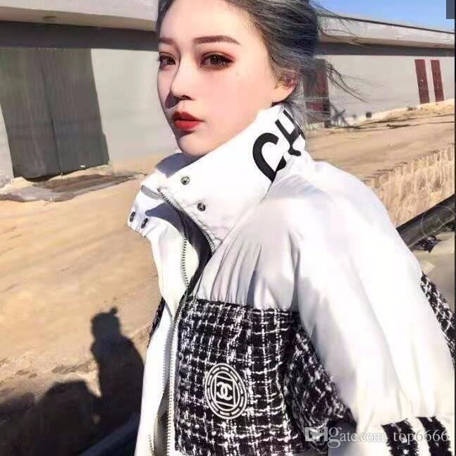 Las mujeres caliente del invierno suave y esponjosa suave plumón de pato suave calle marca de algodón de moda abrigo de disparo de alta collar de la muchacha del estudiante OL fresco por la chaqueta