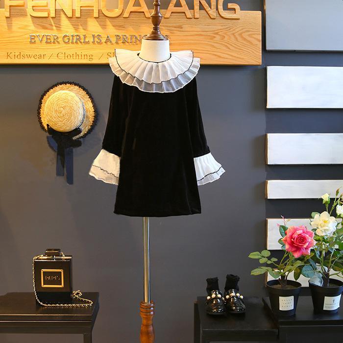 Mädchen Kleid Neue Mädchen Partykleid Schwarz Mädchen Kleidung Langarm Pleuche Prinzessin Kleider Kostüme Kleidung 5 p / l