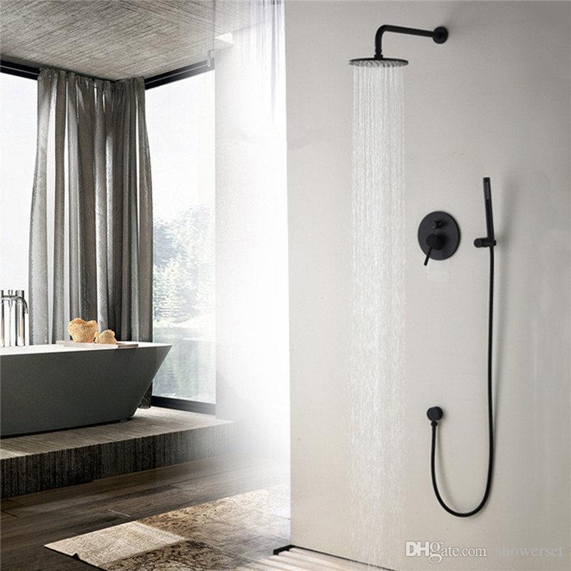 Brass Black Bathroom Shower Set 8/10/12 Inch Rianfall Shower Head Shower Faucet Wall Mounted Arm Diverter Mixer Handheld Set