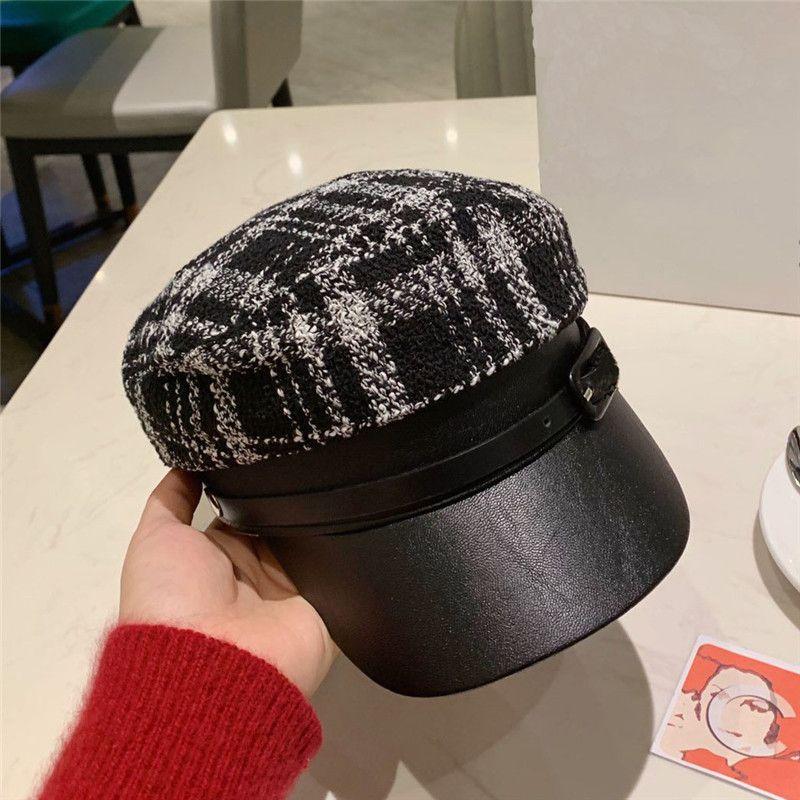 women designer hat luxury cap lady fashion item Plaid leather stitching Christmas present spring autumn winter accessories casquette