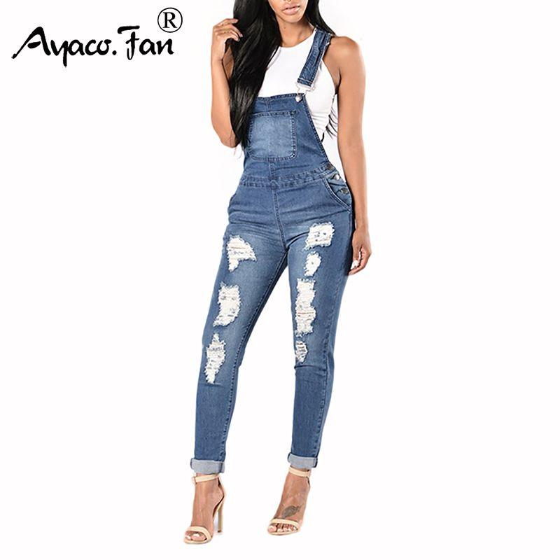 Le donne Slim pagliaccetti del New Spring cowboy Tuta Cool denim dei pantaloni della matita Fori Ripped signora casuale dei jeans senza maniche tute