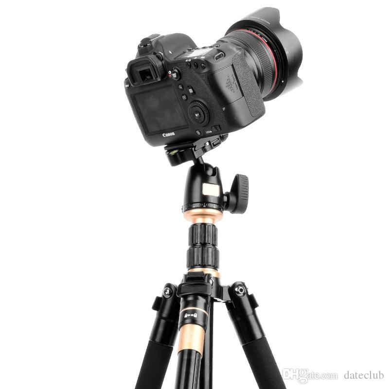 2019 Professional Extendable QZSD Q555 55.5 Inches Aluminium Alloy Camera Video Tripod Monopod With Quick Release Plate Stand DHL