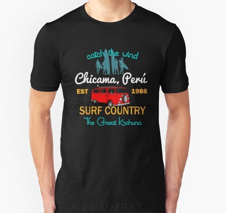Büyük Kahuna Chicama Peru Ülke Surf T Gömlek Baskılı Tişört tee üst tişört Erkekler