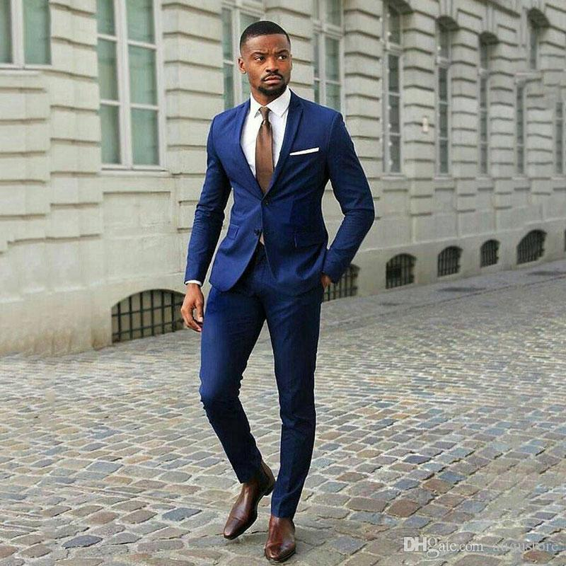 Slim Fit Marine-Blau-Klage-Geschäftsmann-Bräutigam-Hochzeit Smoking 2Piece Mantel Hosen-Mann Blazers Kostüm Homme Terno Masculino Trajes de hombre