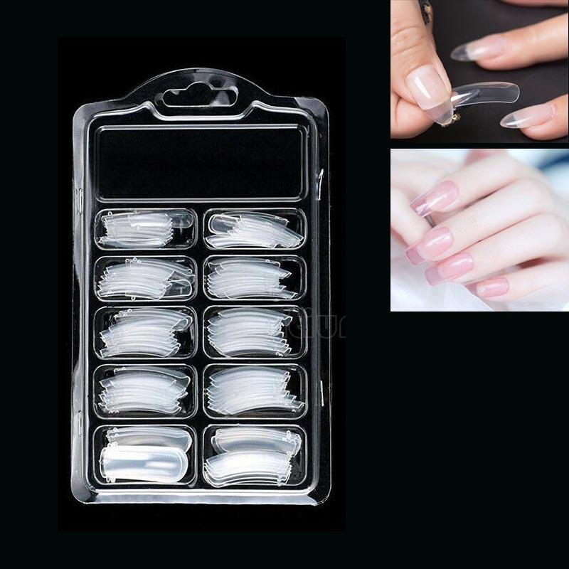 100 Pcs Transparent Full Cover Dual Nail Art Acrylic False Tips System Form Tools 10 Sizes
