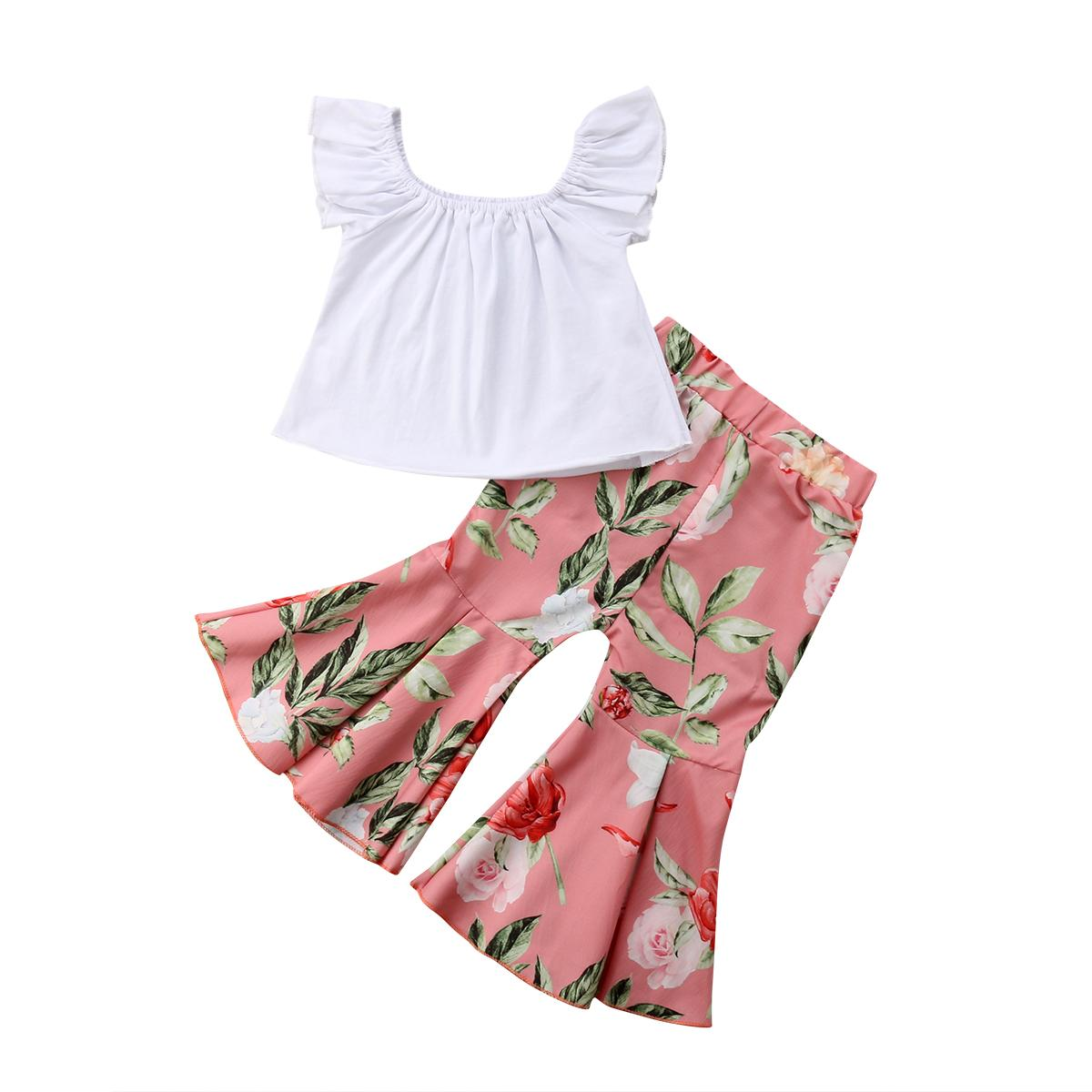 Outdoor newborn toddler baby girl suit sleeveless white top+ floral flared pants fashion kid girl suit