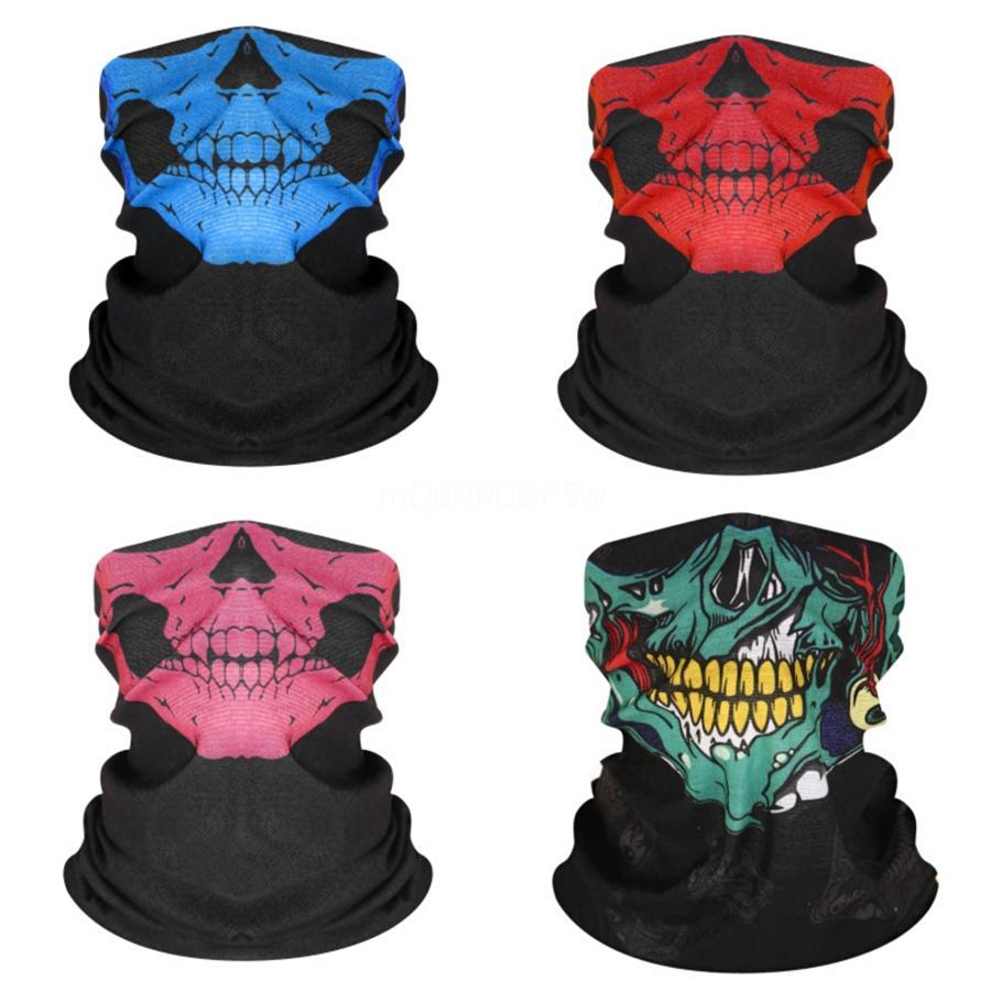 Le maschere di Halloween scheletro del cranio magico teschio Maschera di protezione mezza del cranio del fantasma sciarpa multi uso del collo del fantasma Festival del fronte mezzo Mask15 # 620 # 111