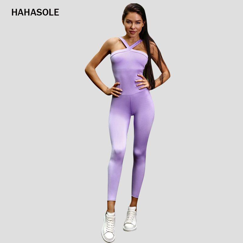 HAHASOLE 높은 Ealstic 요가 바디 슈트 피트니스 의류 체육관 슬림 고삐 솔리드 퍼플 컬러 섹시한 여성 점프 수트 스포츠 HWA2762-4