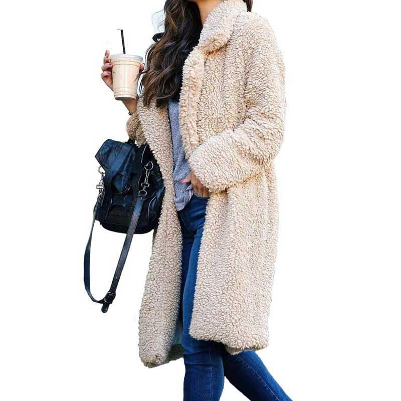 Otoño Invierno Faux Abrigo Mujeres Cálido Oso Damas Chaqueta de piel Femenina Outwear Outwear Peluche abrigo largo