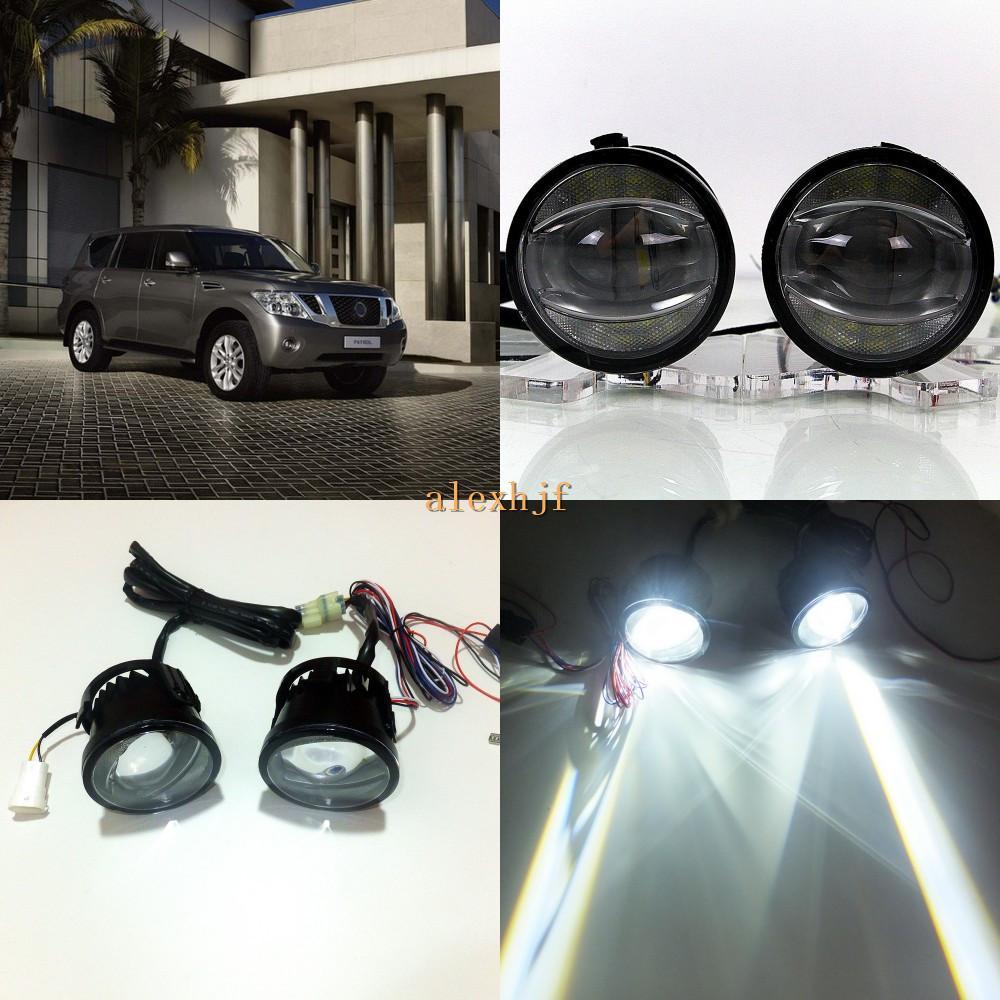 Juli König 1600LM 24W 6000K LED-Lichtleiter Q5 Objektiv-Nebel-Lampen + 1000LM 14W Tagfahrlicht DRL Fall für Nissan Patrol Y62 2011+