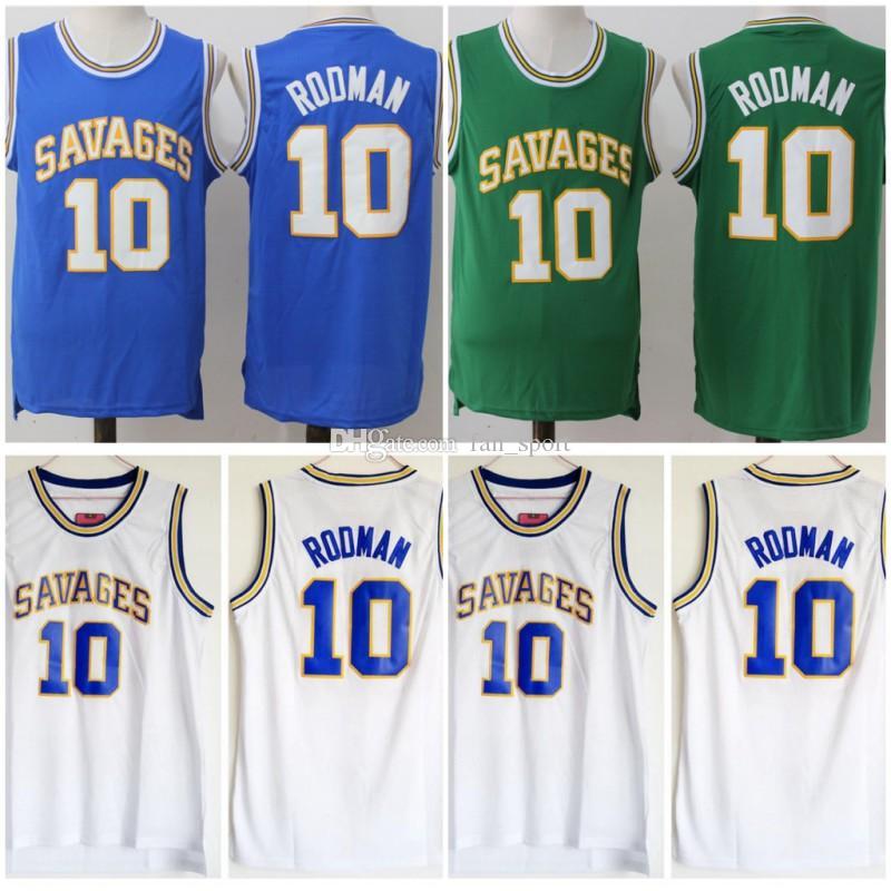 NCAA College Oklahoma Oklahoma Savages 10 Dennis Rodman Jersey Men University Basketball Rodman High School Jerseys Team Color White Blue Green