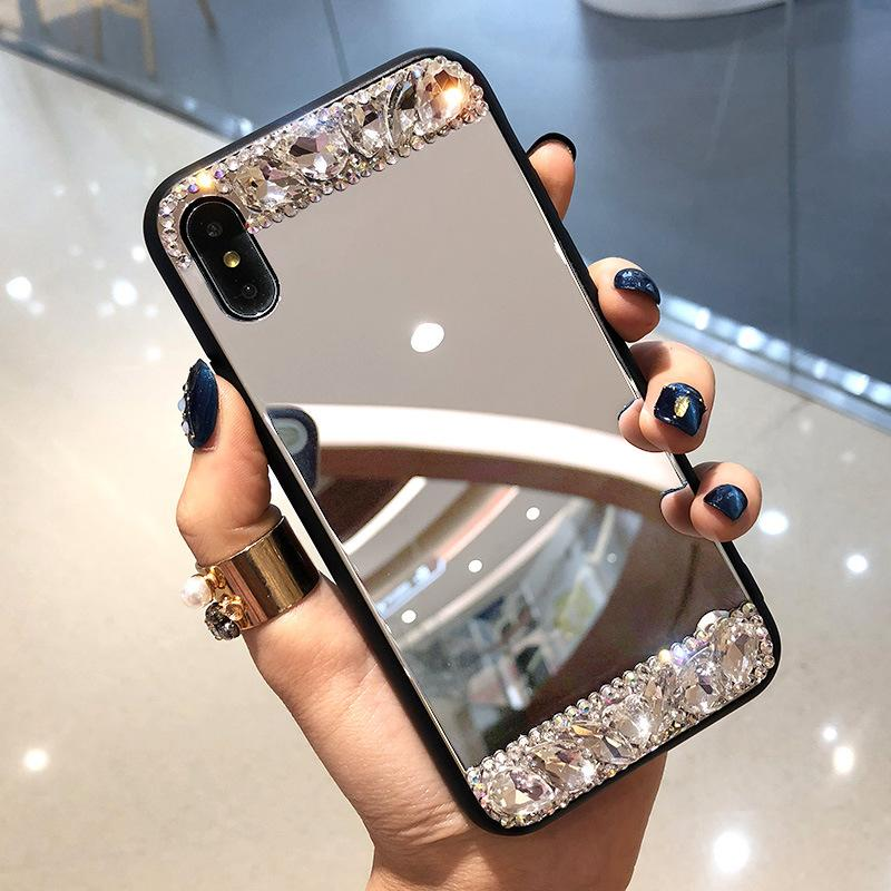 Glass mirror iphone X mobile phone shell iPhone6s plus personality luxury 7p tide brand net red 8 rhinestone female application
