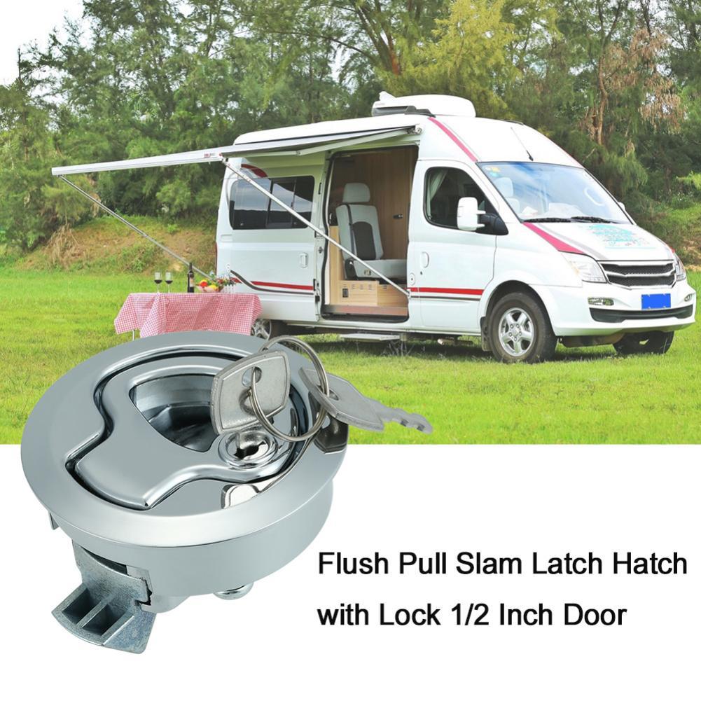 Slam Latch Hatch Round Pull W Lock 1//2/'/' Door Deck For M1-43 RV Marine Boat