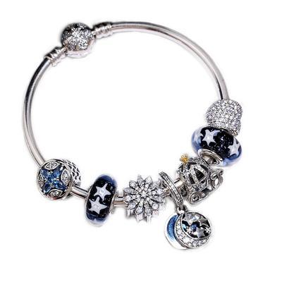 Qualité d'origine 100% Argent 925 Star et Lune de citrouille Bracelet Livraison gratuite