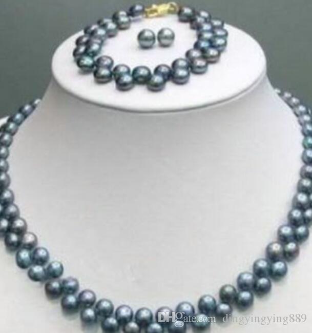 """Conjunto de la joyería caliente rápido + pendiente de la pulsera del collar de 7-8mm Negro Perla Akoya 18"""" ("""