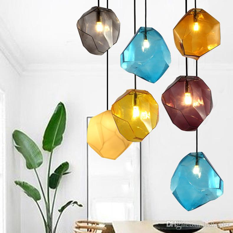 Modern minimalist stained glass led chandelier creative personality restaurant bar bedroom living room cafe showroom pendant lighting -L38