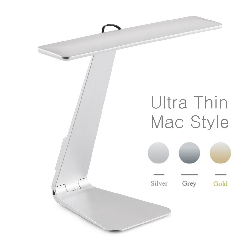 Ultrathin Mac Style 3 Mode Dimming Led Reading Study Desk Soft Eye-protection Night Light Folding Rechargeable Table Lamp Q190601