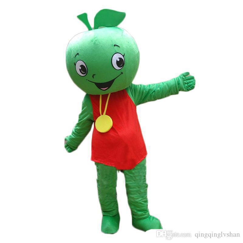 2018 High quality hot Fruit Mascot Little Green Apple Mascot Costume Halloween Birthday Party anime Adult Size Free Shipping