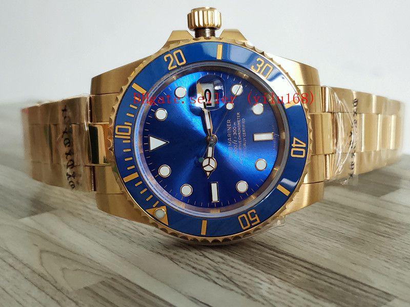 Оптовая продажа-роскошный новый синий черный циферблат золото 116618 116618LN 116618LB -97208 40 мм автоматические мужские часы керамический безель 18-каратного желтого золота