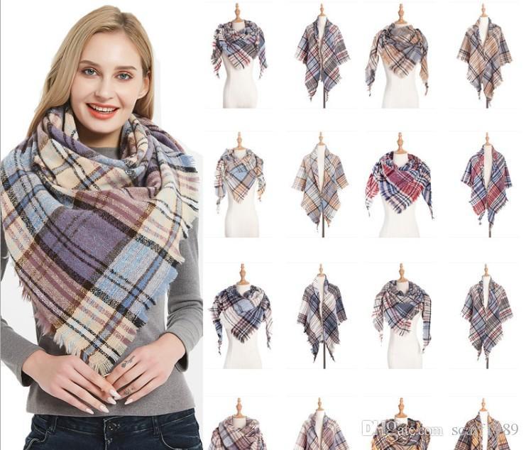 Automne américain et hiver nouvelle boucle burr couleur écossais écharpe carrée triangle châle dame triangle écharpe cou châle 135x135x200cm