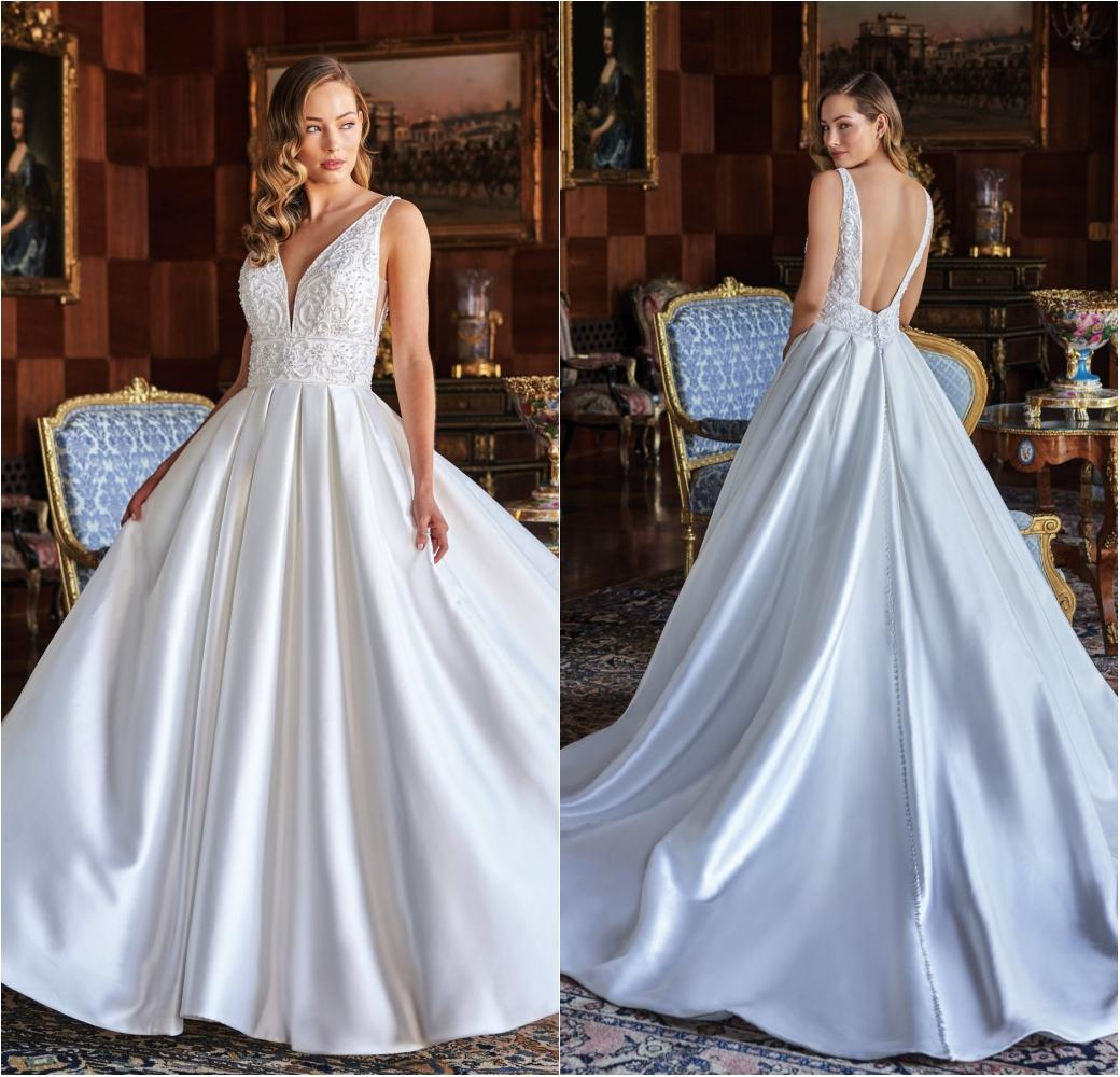 Jasmine Beading Luxury Ball Gown Wedding Dresses Beads Sexy V Neck Short Sleeve Bridal Gowns Sparkly Sweep Train Puffy Wedding Dress Victorian Wedding Dresses Wedding Dress Lace From Greatvip 184 Dhgate Com