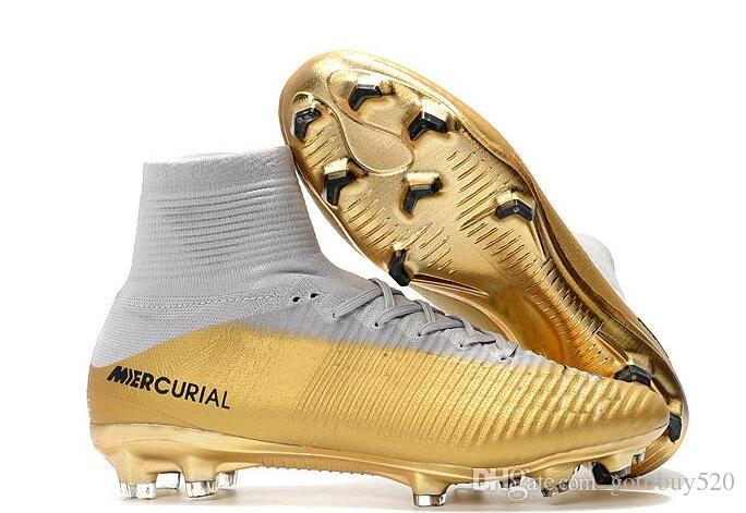 2020 2019 New Men Cheap White Gold Cr7 Cleats Mercurial Superfly Fg V Outdoor Shoes Cristiano Ronaldo Shoes From Gotobuy520 43 8 Dhgate Com
