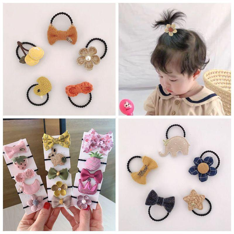 Kids Designer Hair Accessories Baby Bow Rubber Band Children Dont Hurt Hair Cute Fabric Hair Band Baby Girl Fruit Tie Choker Head Rope
