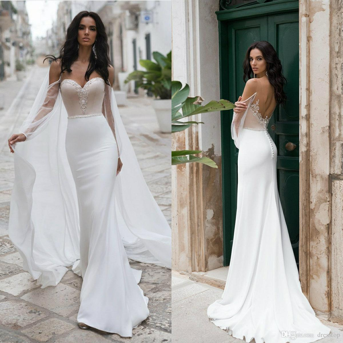 Sweetheart Beach Mermaid Wedding Dresses with Wrap Lace Beaded Bohemian Wedding Gowns Buttons Back Sweep Train Sexy vestido de novia