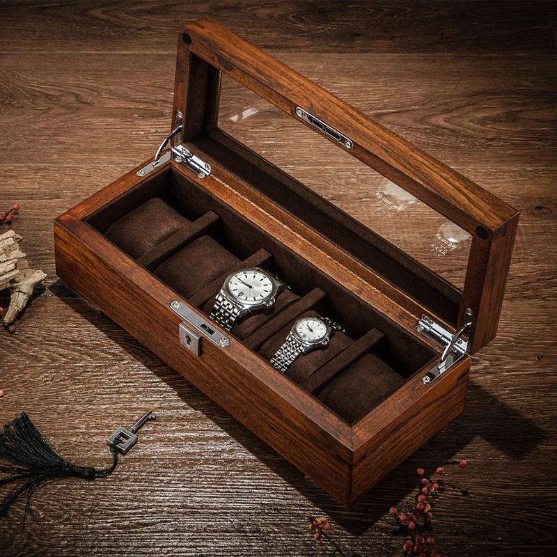 Gift Box Tang 5 entalhes de madeira Relógio caixas de armazenamento Caso Men Mecânica Watch armazenamento caso de bloqueio de madeira exibir jóias