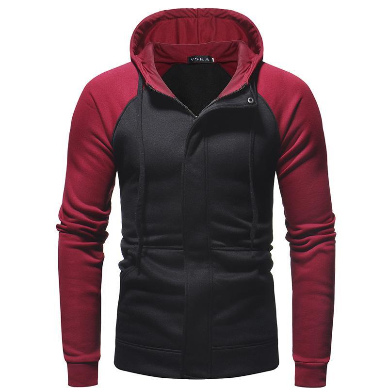 2019 foreign trade new winter dark placket Slim men's casual hooded zip cardigan sweater jacket