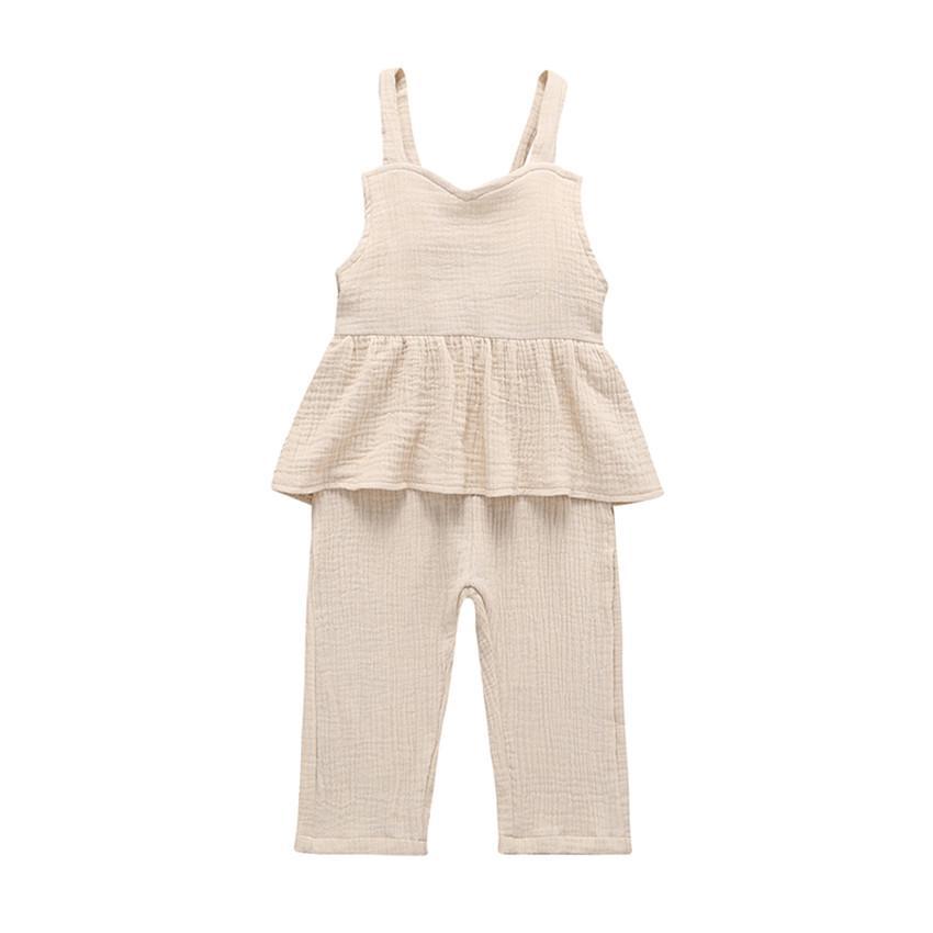 COSPOT Bebek Kız Yaz tulumları Bebes Kızlar Muslin Pamuk Kolsuz Jumpsuit Kızlar Mavi Ekose Romper Çocuk Giyim 2020 Yeni 20