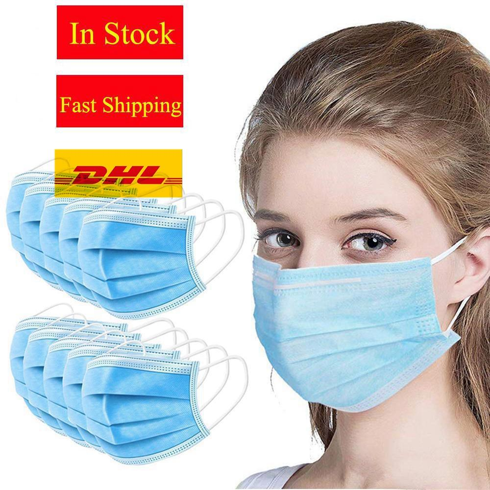 Disposable Face Mask 3 Layer Ear-loop Dust Mouth Masks Cover 3-Ply Non-woven Protective Anti Dust Mask Breathable elastic for Facemask
