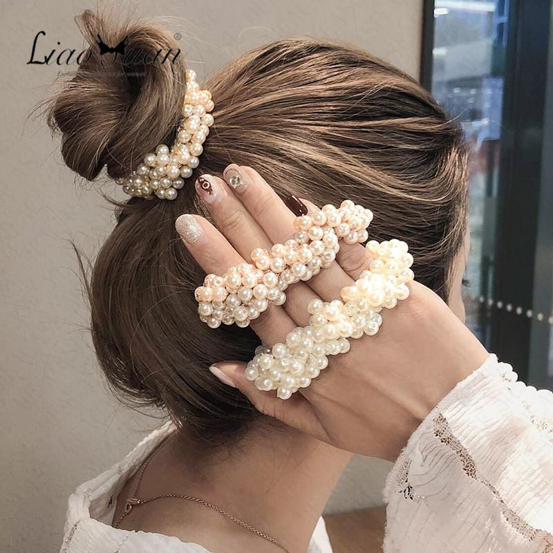 Frau Elegante Perle Hair Binding Perlen Mädchen Scrhozenies Gummibänder Pferdeschwanzhalter Haarschmuck Elastische Haarband Seil Kopfreiness D62307