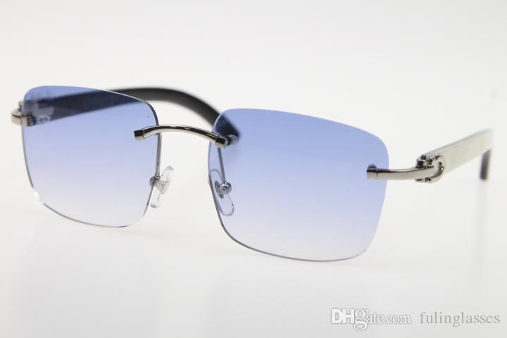 Großhandel randlose Brille New White innen schwarz Buffalo Horn mit vertikalen Streifen SunGlasses 8200816 Randlos Hot Unisex Gläser mit Kasten