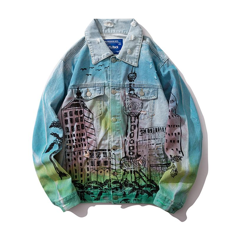 Хип-хоп граффити Джинсовые куртки мужские Streetwear Омывается Hole джинсовой куртки Проблемные Мужской 2019 Модные мужские Жан Куртки