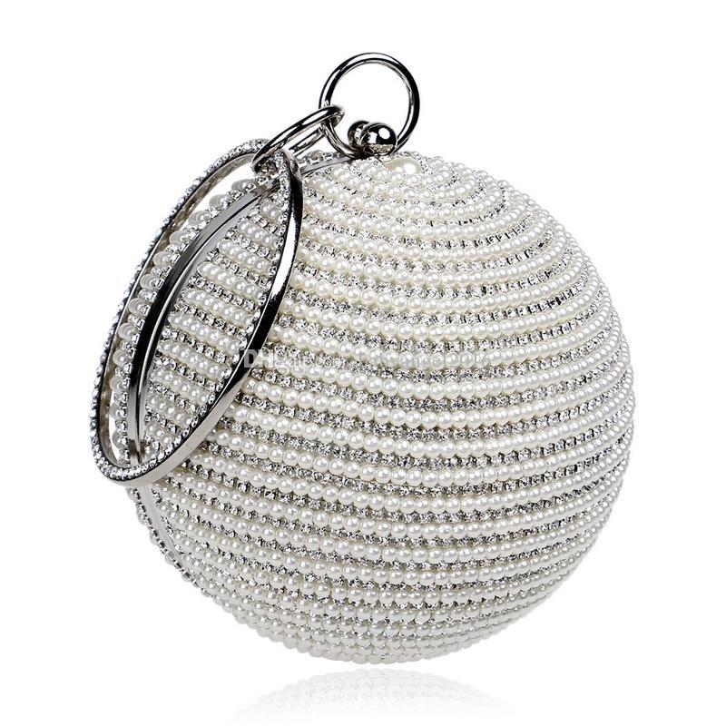 Runde frauen perlen handtaschen diamanten partei tasche diamanten abendtaschen