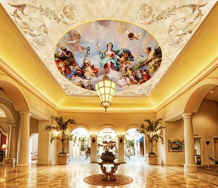Пользовательские большие потолочные фрески обои 3D роскошные европейские персонажи пейзаж фото фреска отель гостиная потолочные обои