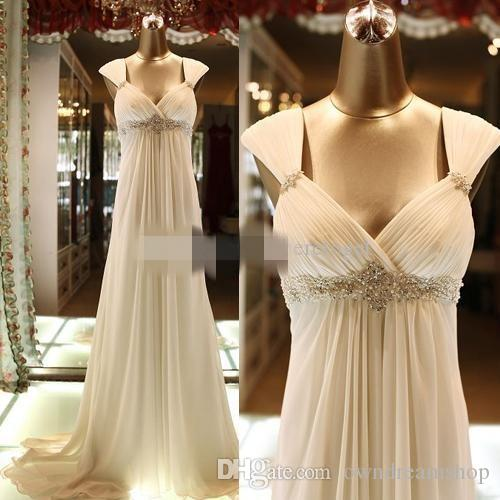 2020 Beach Abiti da sposa chiffon di cristallo dell'impero della vita straps sweep treno incinta di maternità abiti di cerimonia nuziale vestido de novia