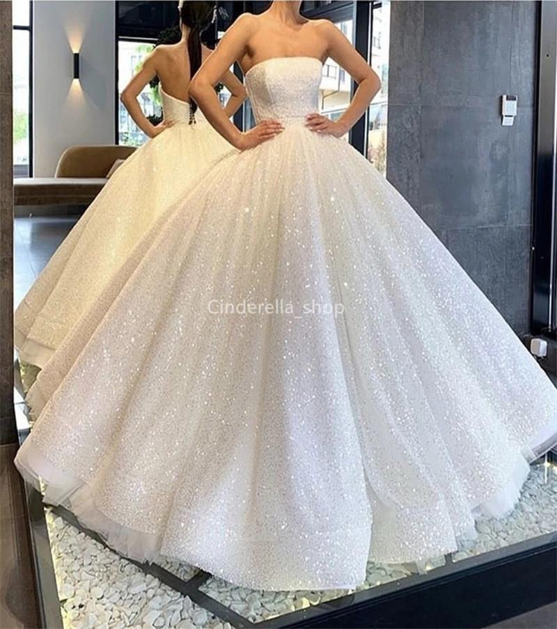 Glitter Ball Gown Princess Wedding Dresses Strapless Lace Up Back Shiny Arabic Bridal Gowns Floor Length Vestidos Novia 2020 Cheap Wedding Dresses From China Discount Wedding Dress From Cinderella Shop 203 52 Dhgate Com,Nice Short Dresses For Weddings