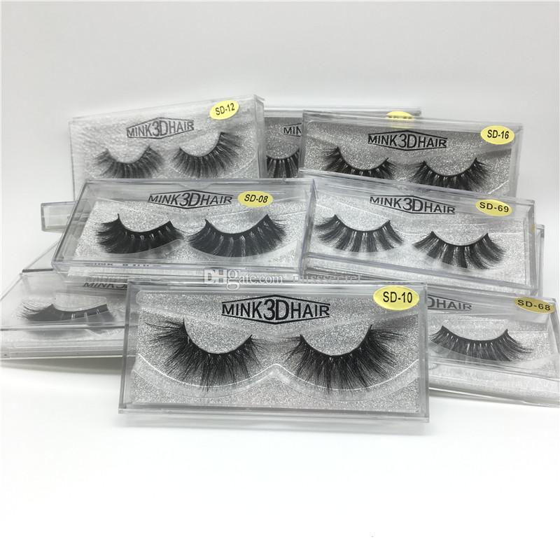 3D Vizon Kirpikler Göz makyaj Vizon Yanlış lashes Yumuşak Doğal Kalın Sahte Kirpikler 3D Göz Lashes Uzatma Vizon kirpikleri 17 stilleri DHL Ücretsiz
