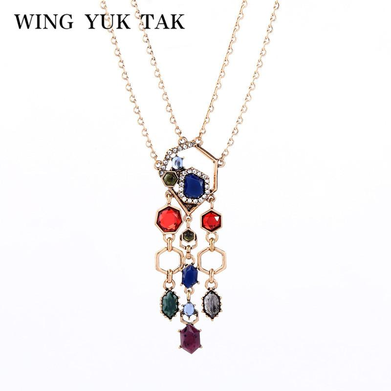 aile Yuk tak Nouveau Boho Collier ethnique multicolore pendentif en cristal pour les femmes Party bijoux à la mode géométrique en couches Collier 2020