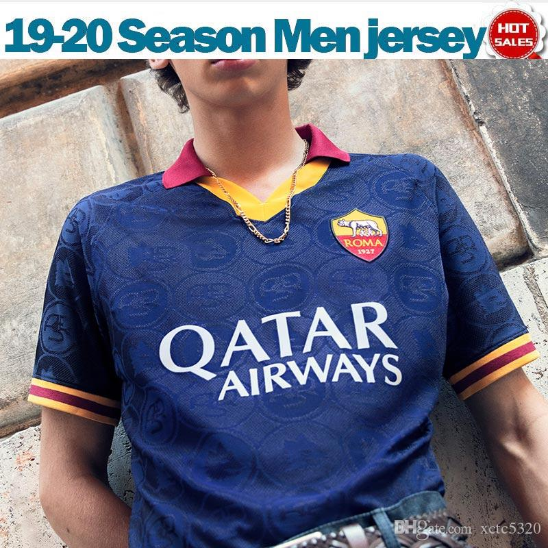 2020 روما الثالث أزرق لكرة القدم الفانيلة رقم 16 19/20 DE ROSSI روما للرجال لكرة القدم قميص مخصص # 9 دزيكو # 92 زي الشعراوي كرة القدم