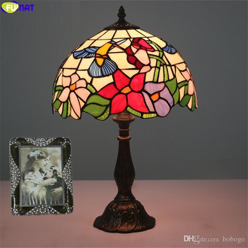ФУМАТ Тиффани розовый синий орхидея настольная лампа колибри витражи настольная лампа 12 дюймов абажур ремесленного домашнего декора E27 лампы