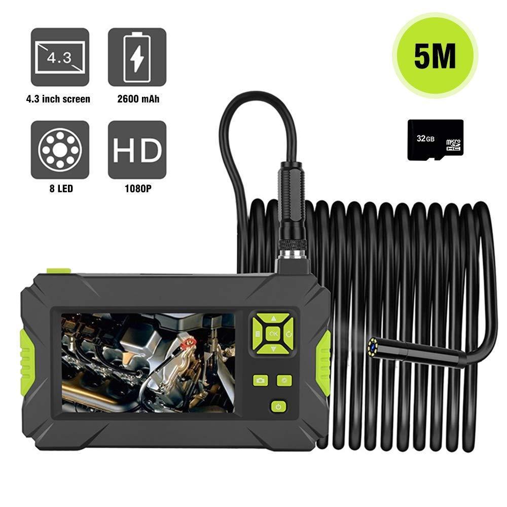 1080 P HD 4.3 '' LCD Ekran Su Geçirmez Muayene Endüstriyel Endoskop, 1.57-197 inç Odak Uzaktan Yılan Kamera ile 8 Ayarlanabilir LED Işık
