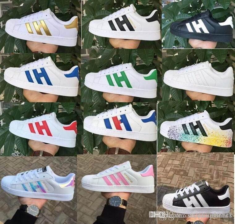 DORP Nakliye erkek kadın smith Ayakkabı Için Süperstar Ayakkabı Beyaz ayakkabı Lazer Dazzle Renk Süperstar Kabuk Kafa rahat ayakkabılar