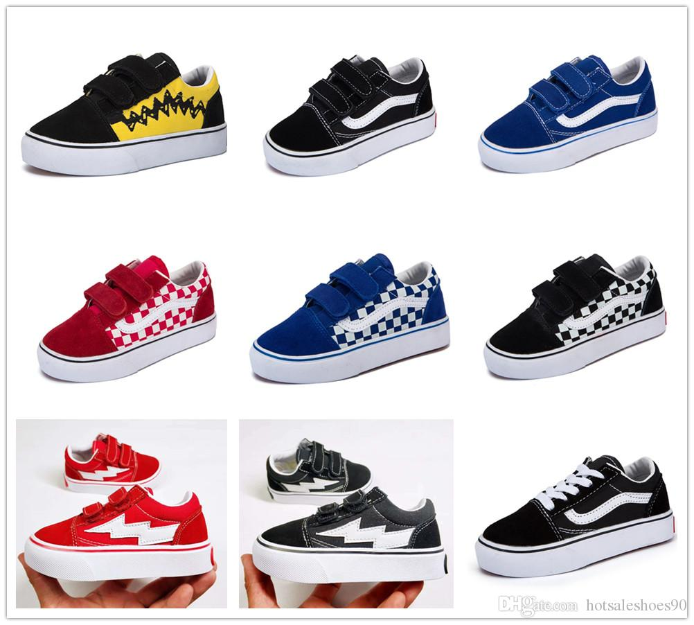High Quality Children Shoes Infant Classic Old Skool Boys Girls Black White Red Baby Kids Canvas Skateboard Sport Sneakers 22 35 Running Sneakers For