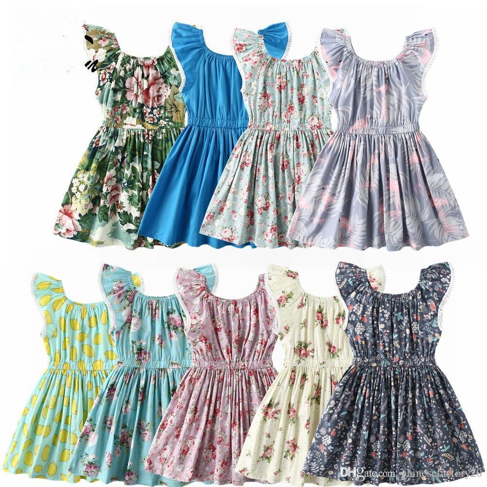 DHL Exquisite Kids Dresses Clothing 2019 Summer Baby Girl Flower Lemon Print Design Dress Cotton Flying Sleeve Princess Dress